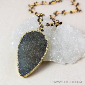 Shop Pyrite Necklaces! 50% OFF SALE – Grey Druzy Necklace, Choose Your Druzy, Black Pyrite Cluster Chain | Natural genuine Pyrite necklaces. Buy crystal jewelry, handmade handcrafted artisan jewelry for women.  Unique handmade gift ideas. #jewelry #beadednecklaces #beadedjewelry #gift #shopping #handmadejewelry #fashion #style #product #necklaces #affiliate #ad