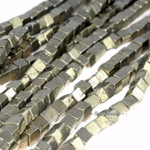Shop Pyrite Bead Shapes! 3mm Palazzo Iron Pyrite Gemstone Perfect Square Cube 3X3MM Loose Beads 16inch Full Strand (90181668-136) | Natural genuine other-shape Pyrite beads for beading and jewelry making.  #jewelry #beads #beadedjewelry #diyjewelry #jewelrymaking #beadstore #beading #affiliate #ad