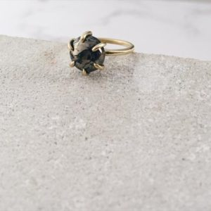 Shop Pyrite Rings! Pyrite ring, brass or silver band and pyrite, cosmic ring, earth tones | Natural genuine Pyrite rings, simple unique handcrafted gemstone rings. #rings #jewelry #shopping #gift #handmade #fashion #style #affiliate #ad