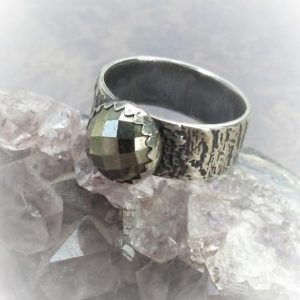 Shop Pyrite Jewelry! Unisex Pyrite Ring-US Size 8.75 Ring-Wide Band Ring-Boho Chic-Rose Cut Pyrite-Rustic Bark Textured Band-Sterling Silver-Ready To Ship | Natural genuine Pyrite jewelry. Buy crystal jewelry, handmade handcrafted artisan jewelry for women.  Unique handmade gift ideas. #jewelry #beadedjewelry #beadedjewelry #gift #shopping #handmadejewelry #fashion #style #product #jewelry #affiliate #ad