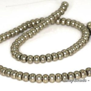 Shop Pyrite Rondelle Beads! 6x4mm Palazzo Iron Pyrite Gemstone Rondelle 6x4mm Loose Beads 15.5 inch Full Strand (90144821-418)   Natural genuine rondelle Pyrite beads for beading and jewelry making.  #jewelry #beads #beadedjewelry #diyjewelry #jewelrymaking #beadstore #beading #affiliate #ad