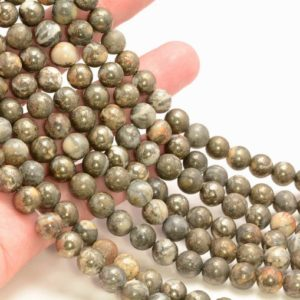 Shop Pyrite Round Beads! 8mm Iron Pyrite Intrusion Gemstone Brown White Round 8mm Loose Beads 15.5 Inch Full Strand Lot 1, 2, 6 And 12 (90187368-718) | Natural genuine round Pyrite beads for beading and jewelry making.  #jewelry #beads #beadedjewelry #diyjewelry #jewelrymaking #beadstore #beading #affiliate #ad