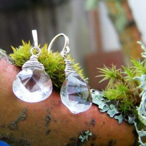 Shop Quartz Crystal Earrings! Faceted Rock Crystal QUartz briolette, sterling silver hook earwire earrings | Natural genuine Quartz earrings. Buy crystal jewelry, handmade handcrafted artisan jewelry for women.  Unique handmade gift ideas. #jewelry #beadedearrings #beadedjewelry #gift #shopping #handmadejewelry #fashion #style #product #earrings #affiliate #ad