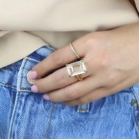 Rectangular Quartz Ring · Rose Gold Crystal Ring · Clear Quartz Gem Ring · Bridal Ring · Rose Gold Statement Ring | Natural genuine Gemstone jewelry. Buy handcrafted artisan wedding jewelry.  Unique handmade bridal jewelry gift ideas. #jewelry #beadedjewelry #gift #crystaljewelry #shopping #handmadejewelry #wedding #bridal #jewelry #affiliate #ad