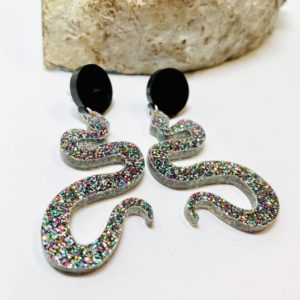 Rainbow Glitter Snake Dangle Earrings, Laser Cut Acrylic Earrings, Serpentine Earrings with Sterling Silver Posts | Natural genuine Serpentine earrings. Buy crystal jewelry, handmade handcrafted artisan jewelry for women.  Unique handmade gift ideas. #jewelry #beadedearrings #beadedjewelry #gift #shopping #handmadejewelry #fashion #style #product #earrings #affiliate #ad