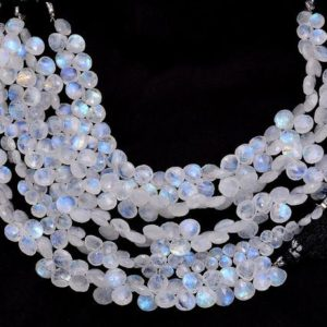 """Shop Rainbow Moonstone Bead Shapes! AAA White Rainbow Moonstone 7mm-8mm Heart Briolette   8"""" Strand   Natural Blue Fire Moonstone Semi Precious Gemstone Loose Briolette Beads   Natural genuine other-shape Rainbow Moonstone beads for beading and jewelry making.  #jewelry #beads #beadedjewelry #diyjewelry #jewelrymaking #beadstore #beading #affiliate #ad"""