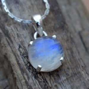 Shop Rainbow Moonstone Pendants! Natural Rainbow Moonstone Pendant,Handmade Jewelry,Solid 925 Sterling Silver Pendant,Blue Flash Prong Set Pendant,Christmas Gift,boho gift | Natural genuine Rainbow Moonstone pendants. Buy crystal jewelry, handmade handcrafted artisan jewelry for women.  Unique handmade gift ideas. #jewelry #beadedpendants #beadedjewelry #gift #shopping #handmadejewelry #fashion #style #product #pendants #affiliate #ad