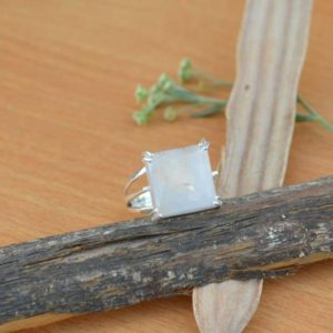 Shop Rainbow Moonstone Rings! Moonstone Gemstone Ring, Prong Set Square Rainbow Moonstone Ring, Solid 925 Sterling Silver Ring, Natural Birthstone Ring, Classic Gift | Natural genuine Rainbow Moonstone rings, simple unique handcrafted gemstone rings. #rings #jewelry #shopping #gift #handmade #fashion #style #affiliate #ad