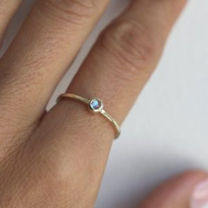 Shop Rainbow Moonstone Rings! Rainbow Moonstone Ring, Simple Engagement Solitaire, June Birthstone Ring, Sterling Silver, 14k or 18k Solid Gold | Natural genuine Rainbow Moonstone rings, simple unique alternative gemstone engagement rings. #rings #jewelry #bridal #wedding #jewelryaccessories #engagementrings #weddingideas #affiliate #ad
