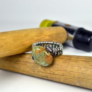 Shop Rainforest Jasper Rings! Rainforest Jasper Nugget Ring   Natural genuine Rainforest Jasper rings, simple unique handcrafted gemstone rings. #rings #jewelry #shopping #gift #handmade #fashion #style #affiliate #ad