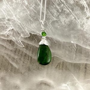 Shop Diopside Pendants! Rare Chrome Diopside pendant, Chrome Diopside and Sterling Silver Wire Wrapped Pendant, Crystal Faerie | Natural genuine Diopside pendants. Buy crystal jewelry, handmade handcrafted artisan jewelry for women.  Unique handmade gift ideas. #jewelry #beadedpendants #beadedjewelry #gift #shopping #handmadejewelry #fashion #style #product #pendants #affiliate #ad
