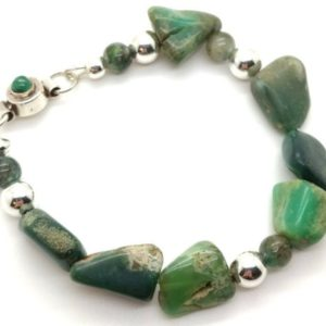 Shop Chrysoprase Bracelets! Rare Chrysoprase Stone Bracelet –  Boho Style Large Stone Bracelet  – Raw Gemstone Layering Jewelry with Unique Green Onyx Magnetic Clasp | Natural genuine Chrysoprase bracelets. Buy crystal jewelry, handmade handcrafted artisan jewelry for women.  Unique handmade gift ideas. #jewelry #beadedbracelets #beadedjewelry #gift #shopping #handmadejewelry #fashion #style #product #bracelets #affiliate #ad