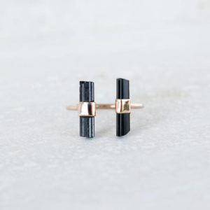 Shop Black Tourmaline Rings! Raw Black Tourmaline Ring, Double Bar Ring, Gold Tourmaline Ring, Raw Tourmaline Jewelry, Stone Bar Ring, Raw Tourmaline Ring, Organic Ring   Natural genuine Black Tourmaline rings, simple unique handcrafted gemstone rings. #rings #jewelry #shopping #gift #handmade #fashion #style #affiliate #ad