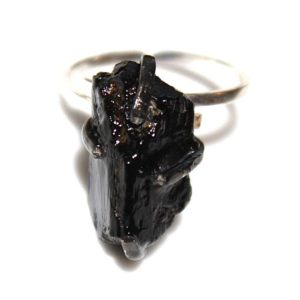 Shop Black Tourmaline Rings! Raw Black Tourmaline Ring Rustic Tourmaline Ring Black Tourmaline Crystal Ring October Birthstone Adjustable Ring Tourmaline Jewelry | Natural genuine Black Tourmaline rings, simple unique handcrafted gemstone rings. #rings #jewelry #shopping #gift #handmade #fashion #style #affiliate #ad