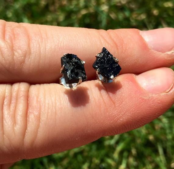Raw Black Tourmaline Stud Earrings - Sterling Silver - Healing Crystals And Stones - Black Tourmaline Earrings - Black Tourmaline Jewelry