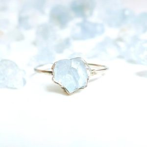 Raw Celestite Ring, Raw Stone Ring, Sterling Silver Blue Crystal Ring, Raw Stone Engagement Ring, Promise Ring, Celestite Jewelry, Boho Ring | Natural genuine Celestite jewelry. Buy handcrafted artisan wedding jewelry.  Unique handmade bridal jewelry gift ideas. #jewelry #beadedjewelry #gift #crystaljewelry #shopping #handmadejewelry #wedding #bridal #jewelry #affiliate #ad