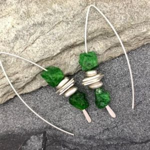 Shop Diopside Earrings! Raw Chrome Diopside Green Stacking Threader Earrings | Natural genuine Diopside earrings. Buy crystal jewelry, handmade handcrafted artisan jewelry for women.  Unique handmade gift ideas. #jewelry #beadedearrings #beadedjewelry #gift #shopping #handmadejewelry #fashion #style #product #earrings #affiliate #ad