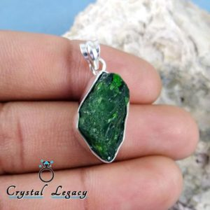 Shop Diopside Pendants! Raw Chrome Diopside Pendant, Solid 925 Sterling Silver, Chrome Diopside Necklace Pendant, Chrome Diopside Jewelry, Gift For Her, CLY0407 | Natural genuine Diopside pendants. Buy crystal jewelry, handmade handcrafted artisan jewelry for women.  Unique handmade gift ideas. #jewelry #beadedpendants #beadedjewelry #gift #shopping #handmadejewelry #fashion #style #product #pendants #affiliate #ad