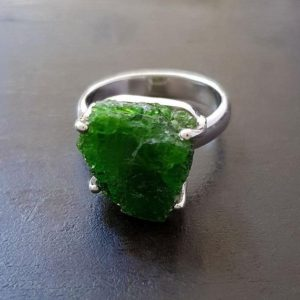 Shop Diopside Rings! Raw Chrome Diopside Prong Ring | Natural genuine Diopside rings, simple unique handcrafted gemstone rings. #rings #jewelry #shopping #gift #handmade #fashion #style #affiliate #ad