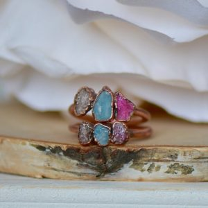 Shop Lepidolite Rings! Raw Crystal Ring, Aquamarine Ring, Multi Stone Ring, Lepidolite Ring, Birthday Gift for Her, Pink Tourmaline Ring, Boho Ring, Statement Ring | Natural genuine Lepidolite rings, simple unique handcrafted gemstone rings. #rings #jewelry #shopping #gift #handmade #fashion #style #affiliate #ad