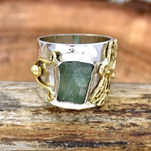 Shop Fluorite Rings! Raw Fluorite Ring, 925 Sterling Silver Ring, Fluorite Ring, Two Tone Ring, Wide Band Ring Statement Ring, Handcrafted Ring, Gift For Her | Natural genuine Fluorite rings, simple unique handcrafted gemstone rings. #rings #jewelry #shopping #gift #handmade #fashion #style #affiliate #ad