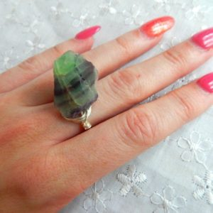 Shop Fluorite Rings! Raw fluorite Ring, Rainbow Flourite Ring, Gemstone Ring, Mothers Day Gift | Natural genuine Fluorite rings, simple unique handcrafted gemstone rings. #rings #jewelry #shopping #gift #handmade #fashion #style #affiliate #ad