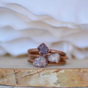Shop Lepidolite Rings! Raw Lepidolite Ring, Electroformed Jewelry, Copper Gemstone Ring, Raw Stone Ring, Unique Gift for Her, Bohemian Ring, Stone of Transition | Natural genuine Lepidolite rings, simple unique handcrafted gemstone rings. #rings #jewelry #shopping #gift #handmade #fashion #style #affiliate #ad