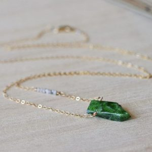 Shop Diopside Necklaces! Raw Stone Necklace, Raw Diamond Necklace, Green Gemstone Necklace, Gemstone Pendant, Chrome Diopside Necklace, Gift for Her, Beauty Gift | Natural genuine Diopside necklaces. Buy crystal jewelry, handmade handcrafted artisan jewelry for women.  Unique handmade gift ideas. #jewelry #beadednecklaces #beadedjewelry #gift #shopping #handmadejewelry #fashion #style #product #necklaces #affiliate #ad