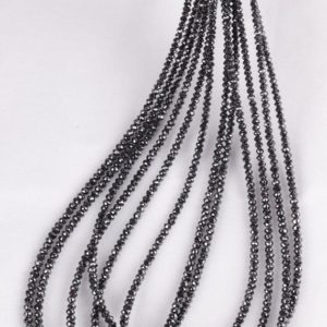 """Shop Black Diamond Beads! Real Black Diamond Fine Faceted Rondelle Beads 2.0 – 2.5MM Strand 
