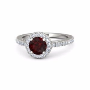 Red Garnet Engagement Ring Garnet Halo Ring, 14k White Gold Garnet Ring, Garnet Diamond Halo Engagement Ring, January birthstone ring | Natural genuine Array rings, simple unique alternative gemstone engagement rings. #rings #jewelry #bridal #wedding #jewelryaccessories #engagementrings #weddingideas #affiliate #ad