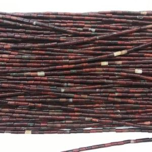 Natural Flower Red Jasper 2x4mm Column Genuine Gemstone Loose Tube Beads 15 inch Jewelry Supply Bracelet Necklace Material Support Wholesale | Natural genuine other-shape Gemstone beads for beading and jewelry making.  #jewelry #beads #beadedjewelry #diyjewelry #jewelrymaking #beadstore #beading #affiliate #ad