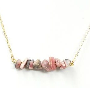 Shop Rhodochrosite Jewelry! Rhodochrosite Mineral Inca Rose Chip Necklace, Layering Necklace, Boho Necklace, Raw Stone necklace | Natural genuine Rhodochrosite jewelry. Buy crystal jewelry, handmade handcrafted artisan jewelry for women.  Unique handmade gift ideas. #jewelry #beadedjewelry #beadedjewelry #gift #shopping #handmadejewelry #fashion #style #product #jewelry #affiliate #ad