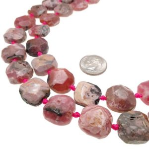 """Shop Rhodochrosite Chip & Nugget Beads! Rhodochrosite Rough Faceted Flat Square Slice Beads 15x15mm 15.5"""" Strand 