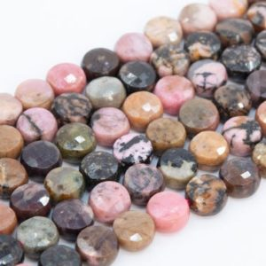 """Shop Rhodonite Faceted Beads! 6MM Pink Rhodonite Beads Faceted Flat Round Button Grade AAA Genuine Natural Gemstone Loose Beads 15"""" / 7.5"""" Bulk Lot Options (111660) 