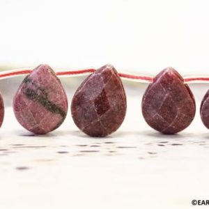 "Shop Rhodonite Bead Shapes! XL/ Rhodonite 15x20mm/ 20x20mm Flat Pear Briolette Approx. 8"" long 