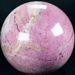 """Shop Rhodonite Shapes! Pink Rhodonite Sphere approx. 4.3"""" in diameter and weighs 4.46 Pounds A+++ Quality   Natural genuine stones & crystals in various shapes & sizes. Buy raw cut, tumbled, or polished gemstones for making jewelry or crystal healing energy vibration raising reiki stones. #crystals #gemstones #crystalhealing #crystalsandgemstones #energyhealing #affiliate #ad"""