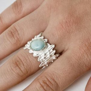 Shop Aragonite Jewelry! Ring Aragonite, Silver Ring Brushed, Statement Ring, Blue Aragonite | Natural genuine Aragonite jewelry. Buy crystal jewelry, handmade handcrafted artisan jewelry for women.  Unique handmade gift ideas. #jewelry #beadedjewelry #beadedjewelry #gift #shopping #handmadejewelry #fashion #style #product #jewelry #affiliate #ad