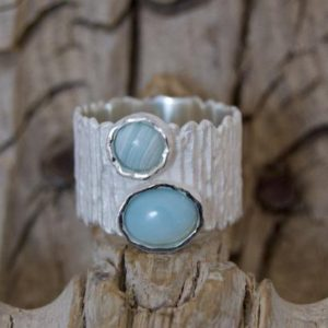 Shop Aragonite Jewelry! Ring aragonite, silver matte, blue aragonite, statement ring | Natural genuine Aragonite jewelry. Buy crystal jewelry, handmade handcrafted artisan jewelry for women.  Unique handmade gift ideas. #jewelry #beadedjewelry #beadedjewelry #gift #shopping #handmadejewelry #fashion #style #product #jewelry #affiliate #ad