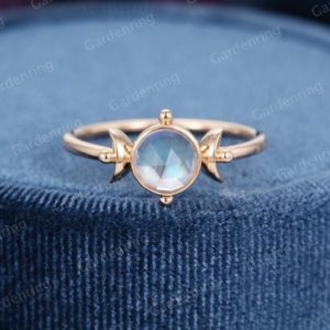 Rose cut Moonstone Engagement ring rose  gold Unique engagement ring vintage women dainty bridal Design Custom anniversary gift for her | Natural genuine Gemstone rings, simple unique alternative gemstone engagement rings. #rings #jewelry #bridal #wedding #jewelryaccessories #engagementrings #weddingideas #affiliate #ad