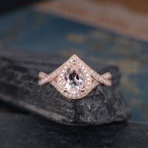 Rose Gold Pear Shaped Morganite Engagement Ring Infinity Band Diamond Halo Promise Ring Women Bridal Wedding Anniversary Gift  Milgrain | Natural genuine Array rings, simple unique alternative gemstone engagement rings. #rings #jewelry #bridal #wedding #jewelryaccessories #engagementrings #weddingideas #affiliate #ad