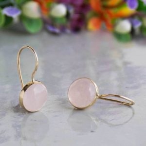 14K Gold Rose Quartz Earrings, 8 Mm Round Rose Quartz Gemstone Earrings, 14K Gold Drop Earrings, Dainty Jewelry, Minimalist Earrings | Natural genuine Rose Quartz earrings. Buy crystal jewelry, handmade handcrafted artisan jewelry for women.  Unique handmade gift ideas. #jewelry #beadedearrings #beadedjewelry #gift #shopping #handmadejewelry #fashion #style #product #earrings #affiliate #ad
