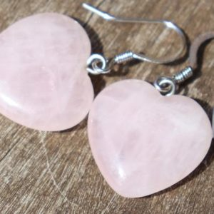 Shop Heart Shaped Earrings! Rose Quartz Hearts Healing Stone Earrings with Positive Healing Energy! | Natural genuine Gemstone earrings. Buy crystal jewelry, handmade handcrafted artisan jewelry for women.  Unique handmade gift ideas. #jewelry #beadedearrings #beadedjewelry #gift #shopping #handmadejewelry #fashion #style #product #earrings #affiliate #ad