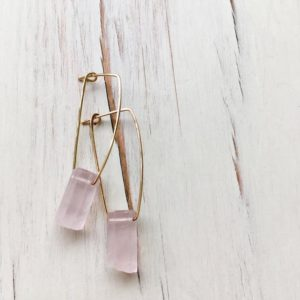 Rose Quartz Earrings Rose Quartz Oblong Hoop Gemstone Earrings Gemstone Jewelry | Natural genuine Rose Quartz earrings. Buy crystal jewelry, handmade handcrafted artisan jewelry for women.  Unique handmade gift ideas. #jewelry #beadedearrings #beadedjewelry #gift #shopping #handmadejewelry #fashion #style #product #earrings #affiliate #ad