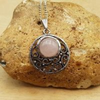 Filigree Circle Rose Quartz Pendant Necklace. Reiki Jewelry. January Birthstone. 5th Anniversary Gemstone. Boho Chic Necklaces For Women | Natural genuine Gemstone jewelry. Buy crystal jewelry, handmade handcrafted artisan jewelry for women.  Unique handmade gift ideas. #jewelry #beadedjewelry #beadedjewelry #gift #shopping #handmadejewelry #fashion #style #product #jewelry #affiliate #ad