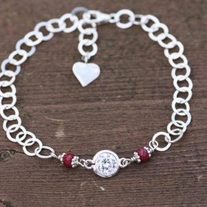 Shop Ruby Bracelets! Cubic Zirconia and Natural Ruby Link Bracelet Heart Charm in Sterling Silver , July Birthstone , 40th Anniversary , OOAK , From Canada | Natural genuine Ruby bracelets. Buy crystal jewelry, handmade handcrafted artisan jewelry for women.  Unique handmade gift ideas. #jewelry #beadedbracelets #beadedjewelry #gift #shopping #handmadejewelry #fashion #style #product #bracelets #affiliate #ad
