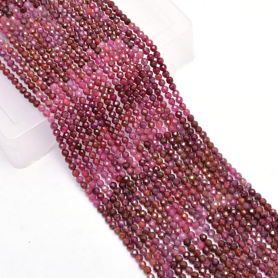 Natural Aaa+ Burma Ruby 3mm-4mm Faceted Round Beads   Multi Ruby Precious Gemstone Loose Beads For Jewelry Making Supplies   13inch Strand
