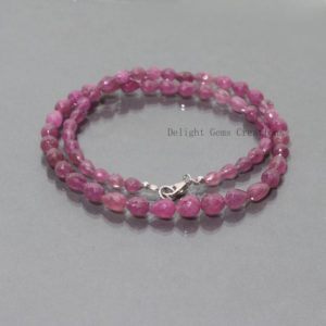Shop Ruby Necklaces! Beautiful Pink Ruby Beaded Necklace, 5x6mm-7x9mm Ruby G.F. Faceted Drops Gemstone Beads Necklace, AAA Wedding Gift July Birthstone Necklace | Natural genuine Ruby necklaces. Buy handcrafted artisan wedding jewelry.  Unique handmade bridal jewelry gift ideas. #jewelry #beadednecklaces #gift #crystaljewelry #shopping #handmadejewelry #wedding #bridal #necklaces #affiliate #ad