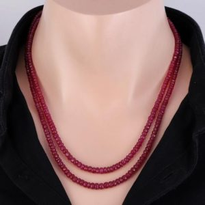 Shop Ruby Necklaces! Genuine ruby necklace ruby faceted beads natural ruby stone necklace faceted ruby gemstone beads pink ruby gift necklace beads stone 2 line | Natural genuine Ruby necklaces. Buy crystal jewelry, handmade handcrafted artisan jewelry for women.  Unique handmade gift ideas. #jewelry #beadednecklaces #beadedjewelry #gift #shopping #handmadejewelry #fashion #style #product #necklaces #affiliate #ad