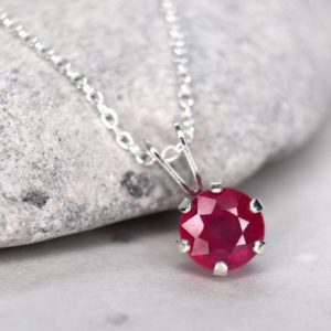 Shop Ruby Pendants! Ruby Necklace, Untreated Natural AAA Ruby, July Birthstone Necklace, Minimalist Ruby Pendant, Solitaire Necklace for Her, Love and Passion | Natural genuine Ruby pendants. Buy crystal jewelry, handmade handcrafted artisan jewelry for women.  Unique handmade gift ideas. #jewelry #beadedpendants #beadedjewelry #gift #shopping #handmadejewelry #fashion #style #product #pendants #affiliate #ad