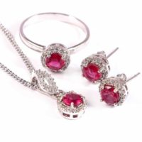 Natural Ruby Ring Earrings Pendant Necklace, Dainty Delicate Jewelry Set, Halo Statement Jewelry, 925 Sterling Silver, July Birthstone Gift | Natural genuine Gemstone jewelry. Buy crystal jewelry, handmade handcrafted artisan jewelry for women.  Unique handmade gift ideas. #jewelry #beadedjewelry #beadedjewelry #gift #shopping #handmadejewelry #fashion #style #product #jewelry #affiliate #ad